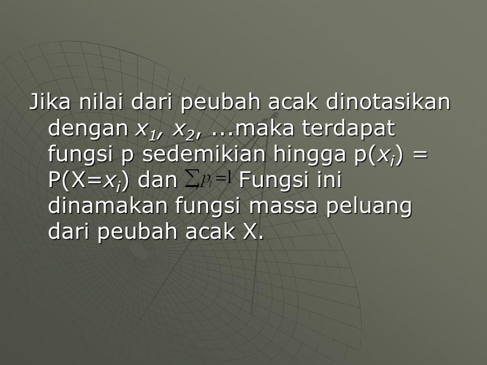 Jika nilai dari peubah acak dinotasikan dengan x1, x2,