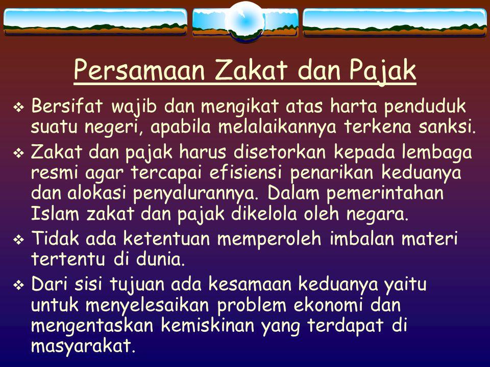 Persamaan Zakat dan Pajak