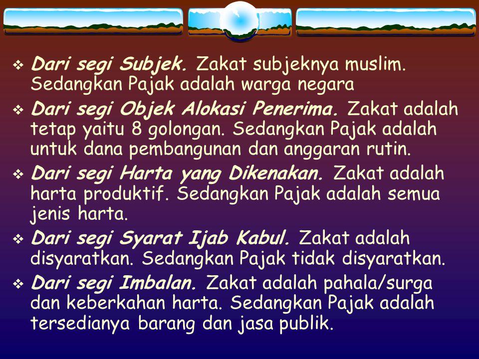 Dari segi Subjek. Zakat subjeknya muslim