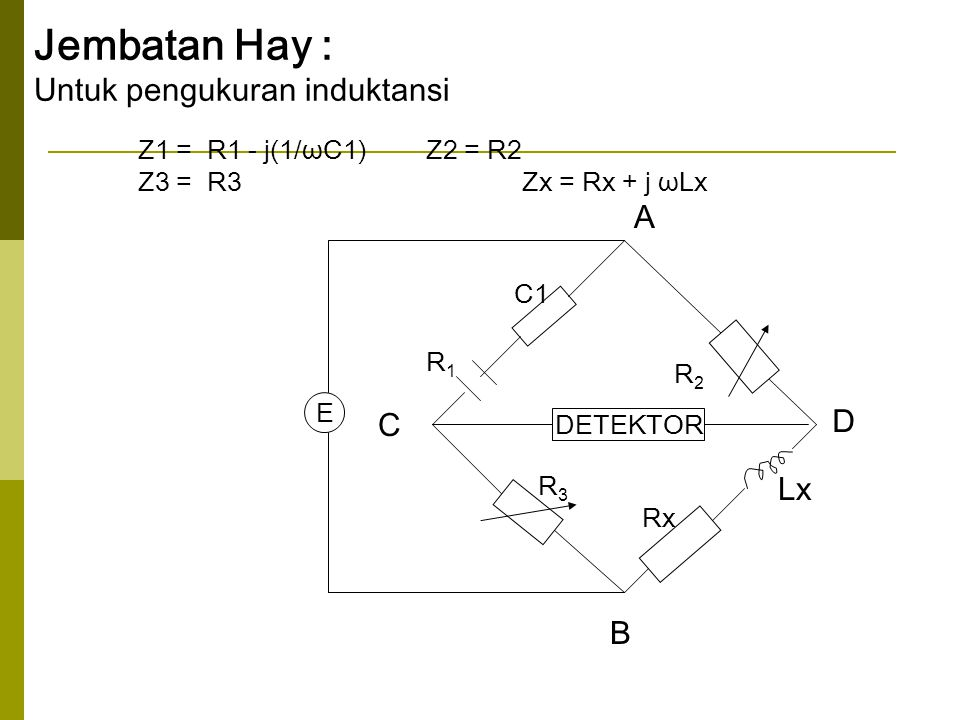 Jembatan Hay : Untuk pengukuran induktansi A D C Lx B