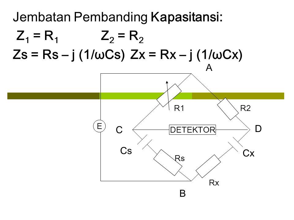 Jembatan Pembanding Kapasitansi: Z1 = R1 Z2 = R2