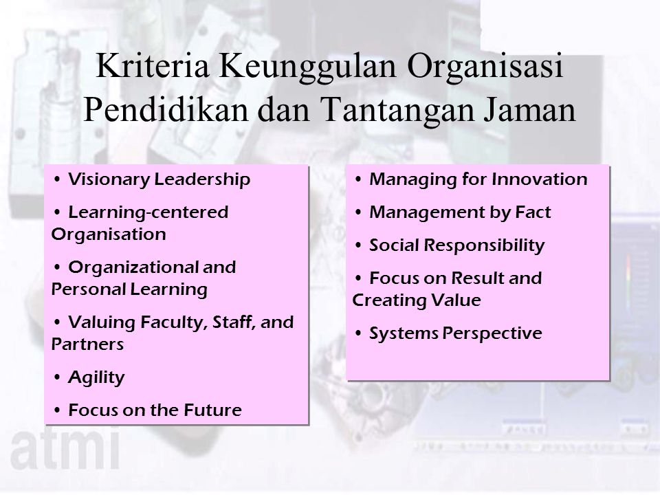 Kriteria Keunggulan Organisasi Pendidikan dan Tantangan Jaman