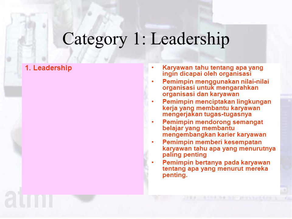 Category 1: Leadership 1. Leadership