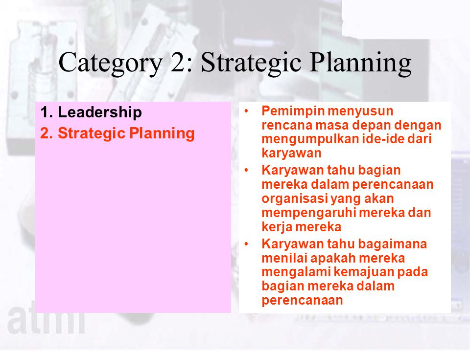 Category 2: Strategic Planning
