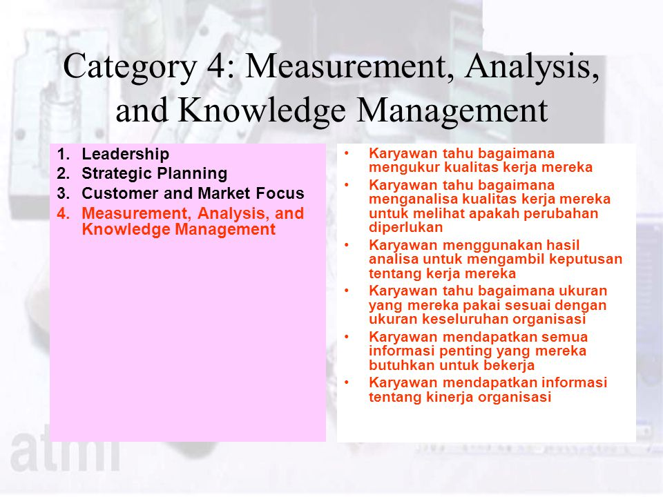 Category 4: Measurement, Analysis, and Knowledge Management