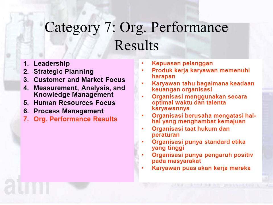 Category 7: Org. Performance Results