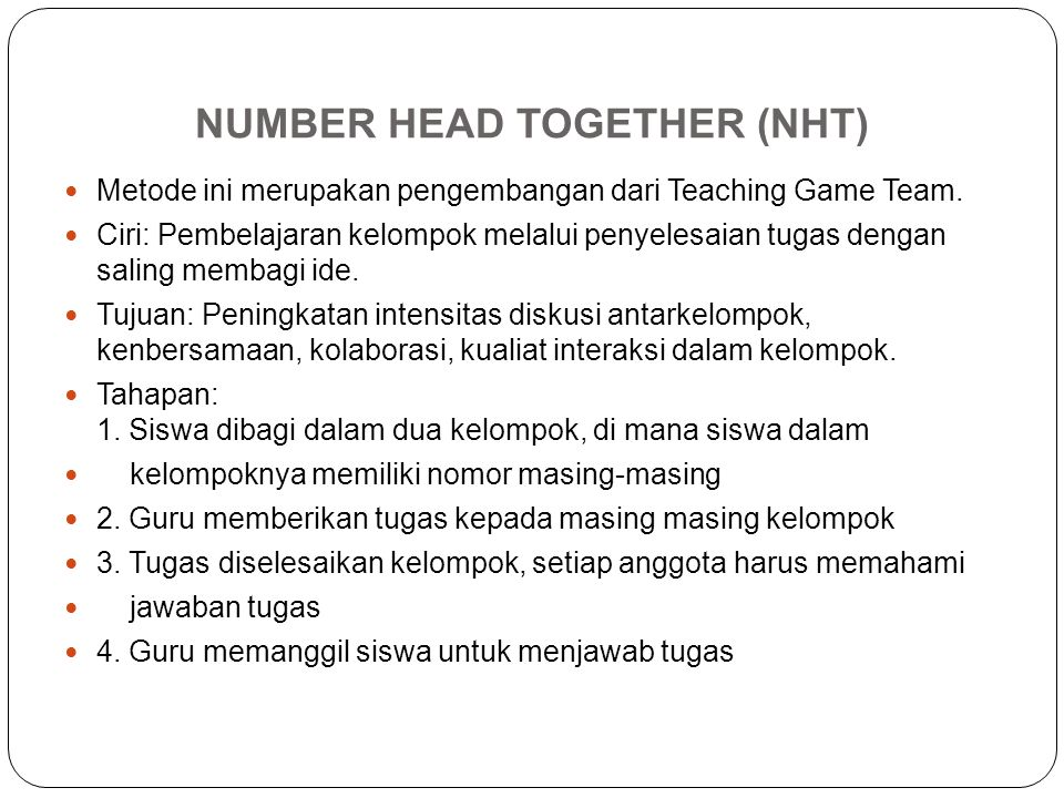 NUMBER HEAD TOGETHER (NHT)