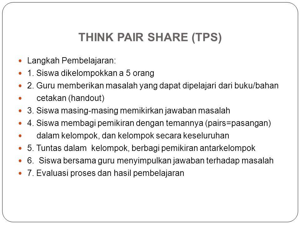 THINK PAIR SHARE (TPS) Langkah Pembelajaran: