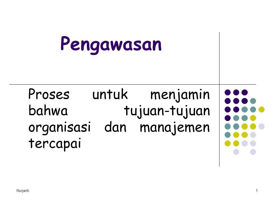 Pengawasan Proses untuk menjamin bahwa tujuan-tujuan organisasi dan manajemen tercapai Nurjanti