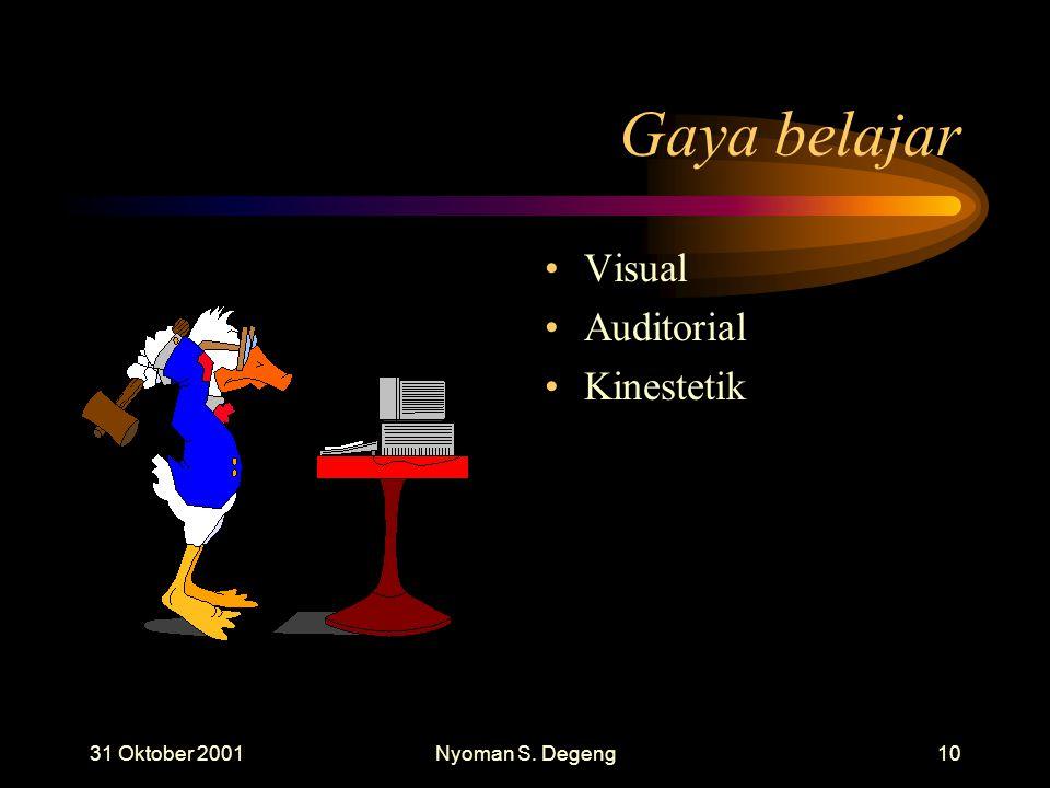 Gaya belajar Visual Auditorial Kinestetik 31 Oktober 2001