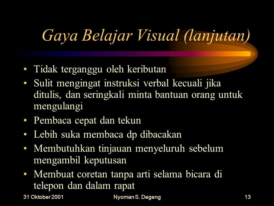 Gaya Belajar Visual (lanjutan)