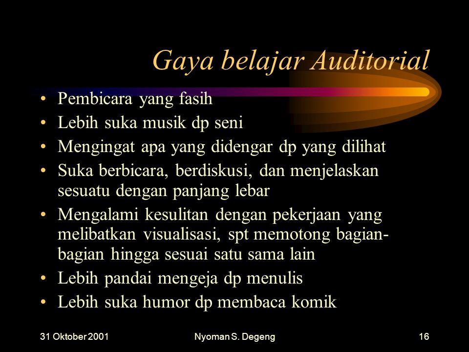 Gaya belajar Auditorial