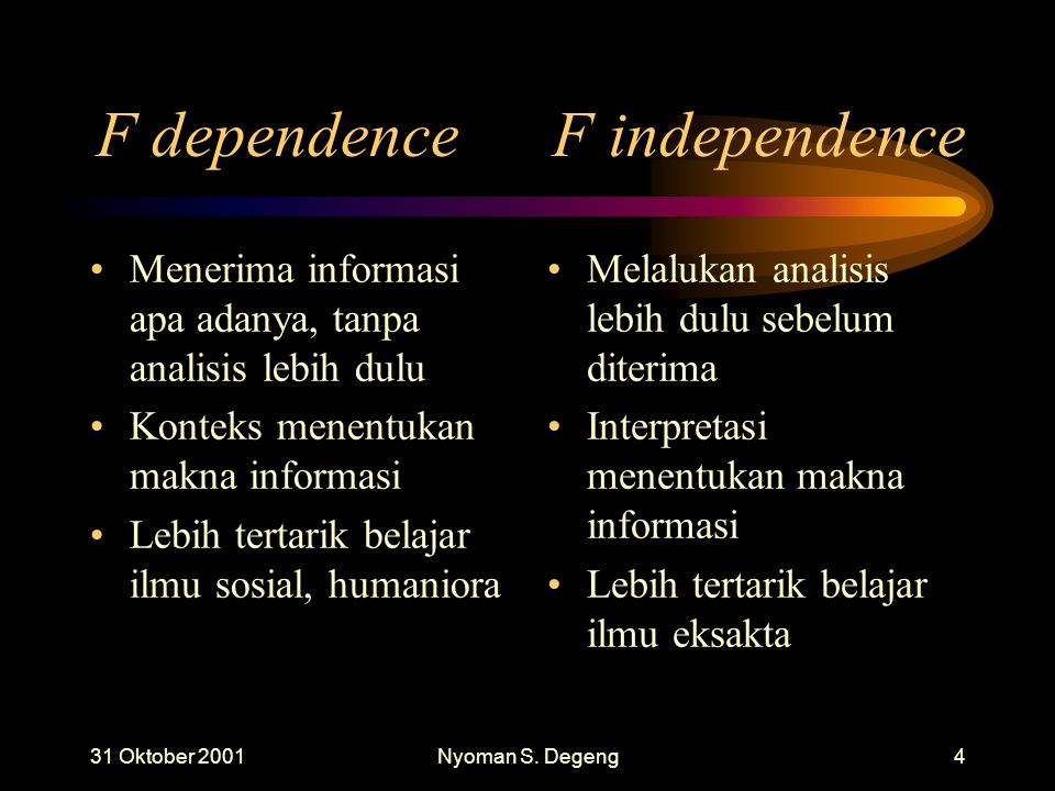 F dependence F independence