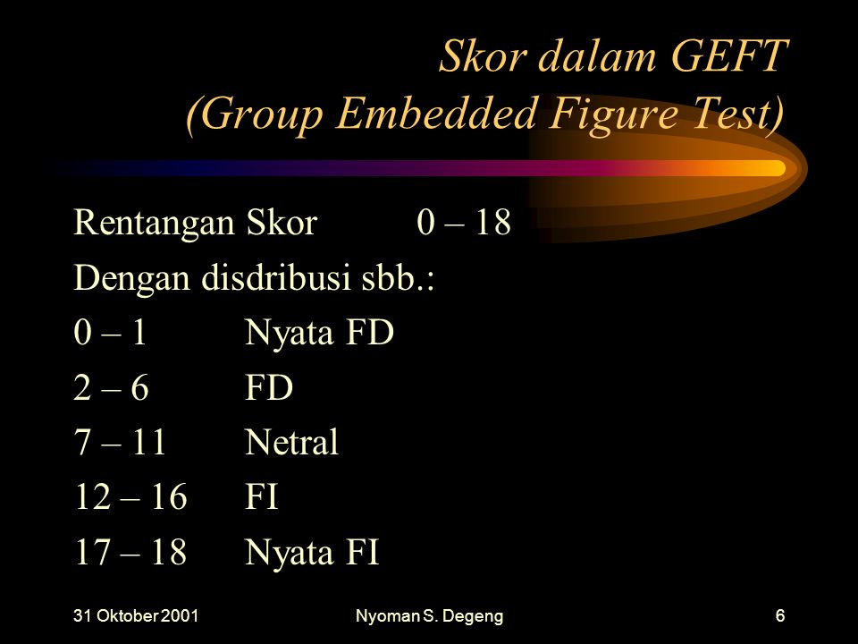 Skor dalam GEFT (Group Embedded Figure Test)