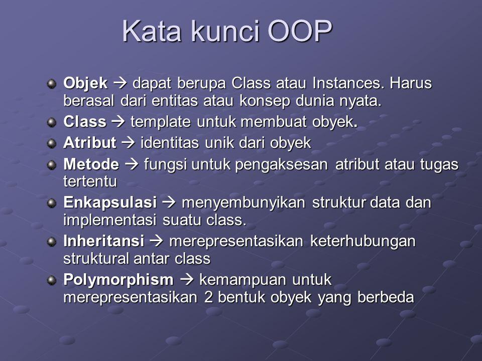 Kata kunci OOP Objek  dapat berupa Class atau Instances. Harus berasal dari entitas atau konsep dunia nyata.