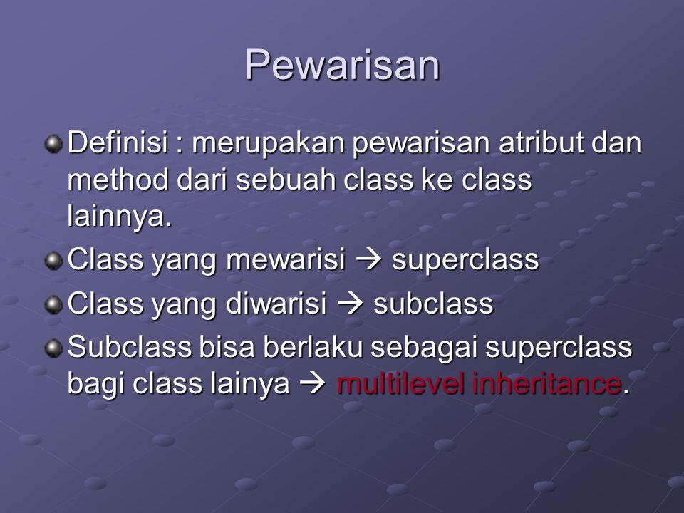 Pewarisan Definisi : merupakan pewarisan atribut dan method dari sebuah class ke class lainnya. Class yang mewarisi  superclass.