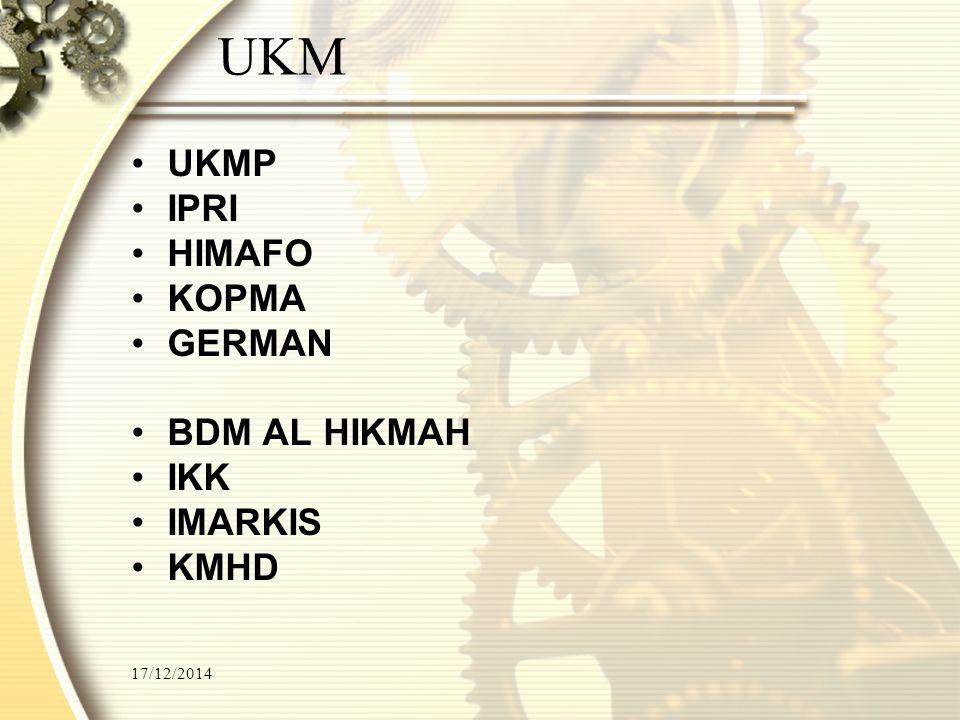 UKM UKMP IPRI HIMAFO KOPMA GERMAN BDM AL HIKMAH IKK IMARKIS KMHD