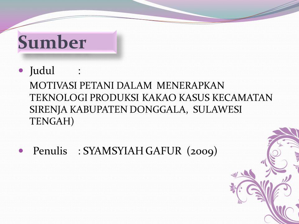 Sumber Judul : Penulis : SYAMSYIAH GAFUR (2009)