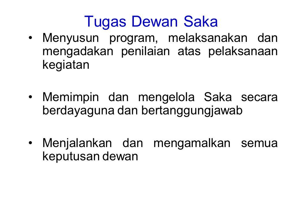 Tugas Dewan Saka Menyusun program, melaksanakan dan mengadakan penilaian atas pelaksanaan kegiatan.