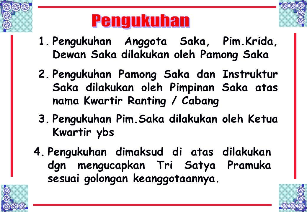 Pengukuhan Pengukuhan Anggota Saka, Pim.Krida, Dewan Saka dilakukan oleh Pamong Saka.
