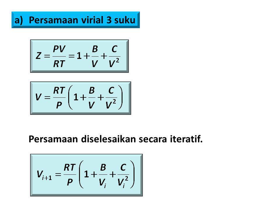 Persamaan virial 3 suku Persamaan diselesaikan secara iteratif.