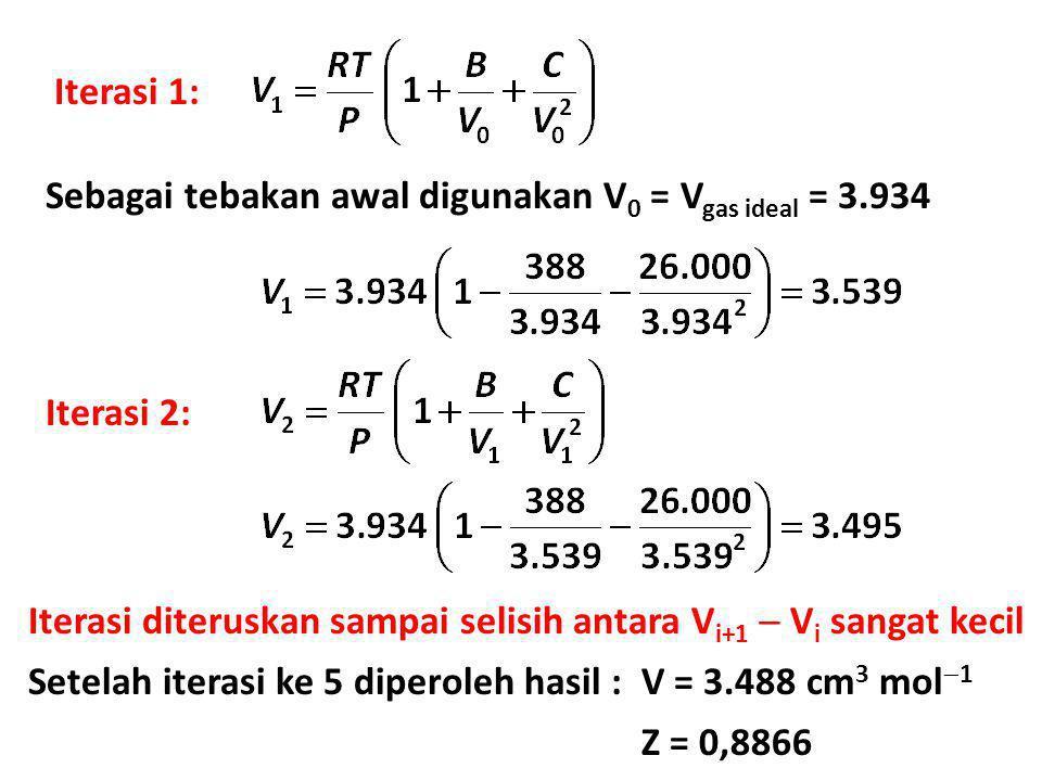 Iterasi 1: Sebagai tebakan awal digunakan V0 = Vgas ideal = 3.934. Iterasi 2: Iterasi diteruskan sampai selisih antara Vi+1  Vi sangat kecil.