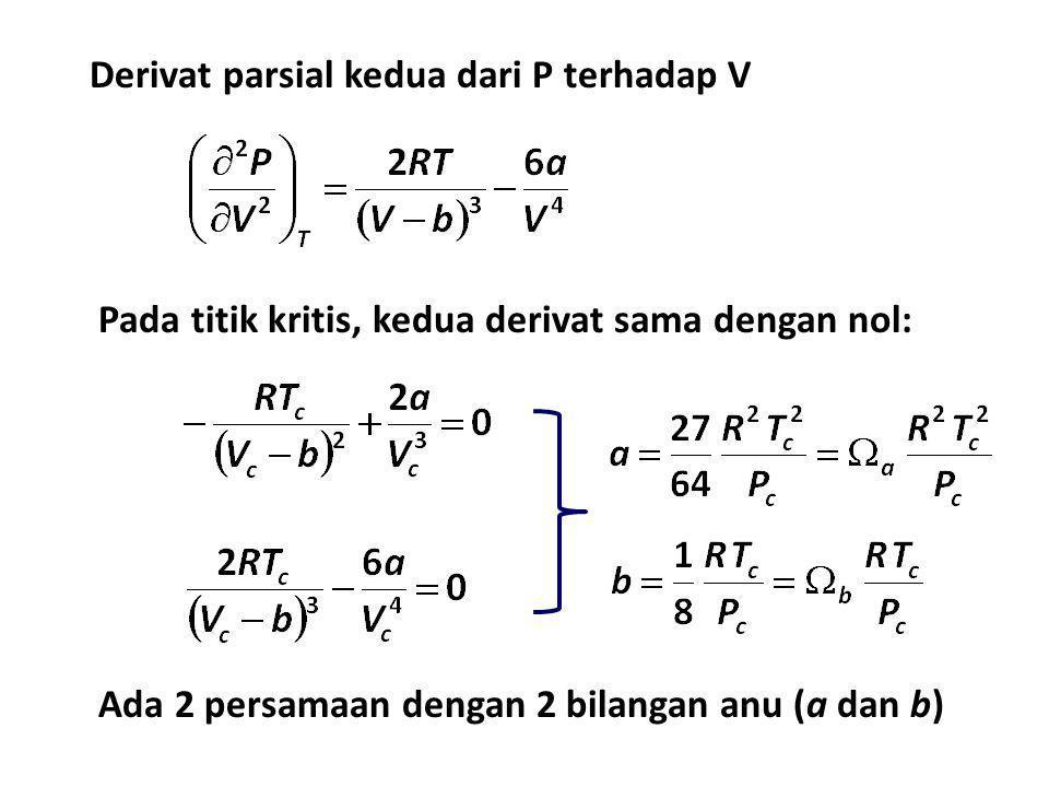 Derivat parsial kedua dari P terhadap V