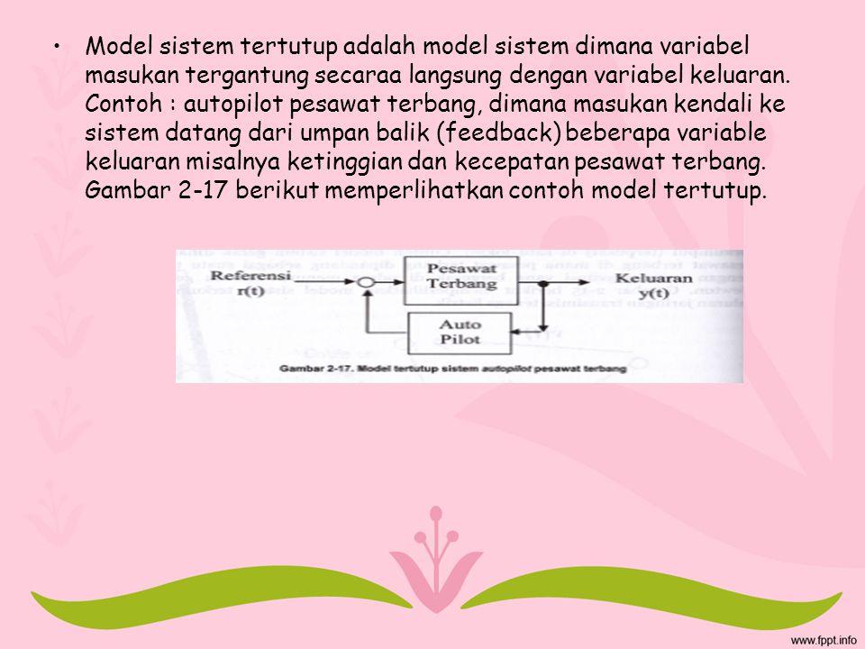 Model sistem tertutup adalah model sistem dimana variabel masukan tergantung secaraa langsung dengan variabel keluaran.