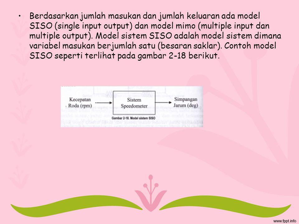 Berdasarkan jumlah masukan dan jumlah keluaran ada model SISO (single input output) dan model mimo (multiple input dan multiple output).