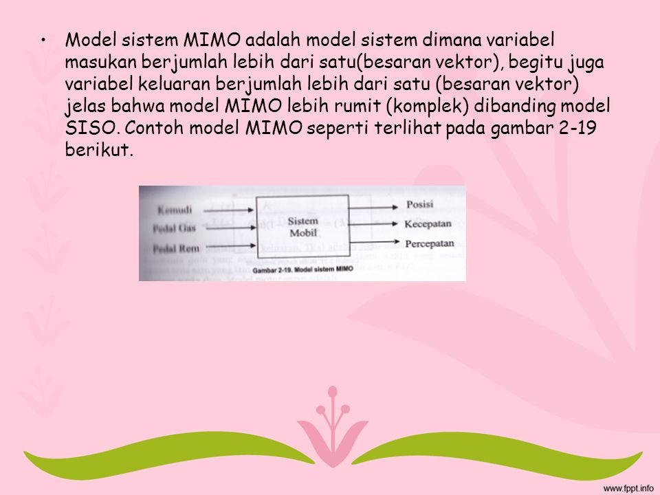 Model sistem MIMO adalah model sistem dimana variabel masukan berjumlah lebih dari satu(besaran vektor), begitu juga variabel keluaran berjumlah lebih dari satu (besaran vektor) jelas bahwa model MIMO lebih rumit (komplek) dibanding model SISO.