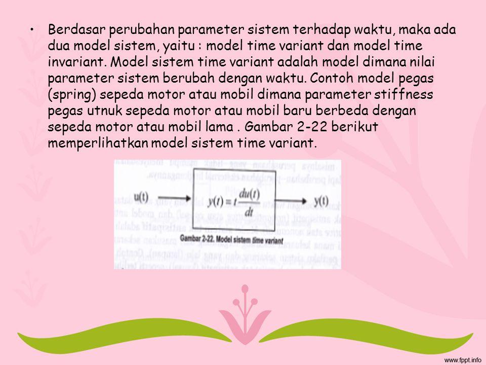 Berdasar perubahan parameter sistem terhadap waktu, maka ada dua model sistem, yaitu : model time variant dan model time invariant.