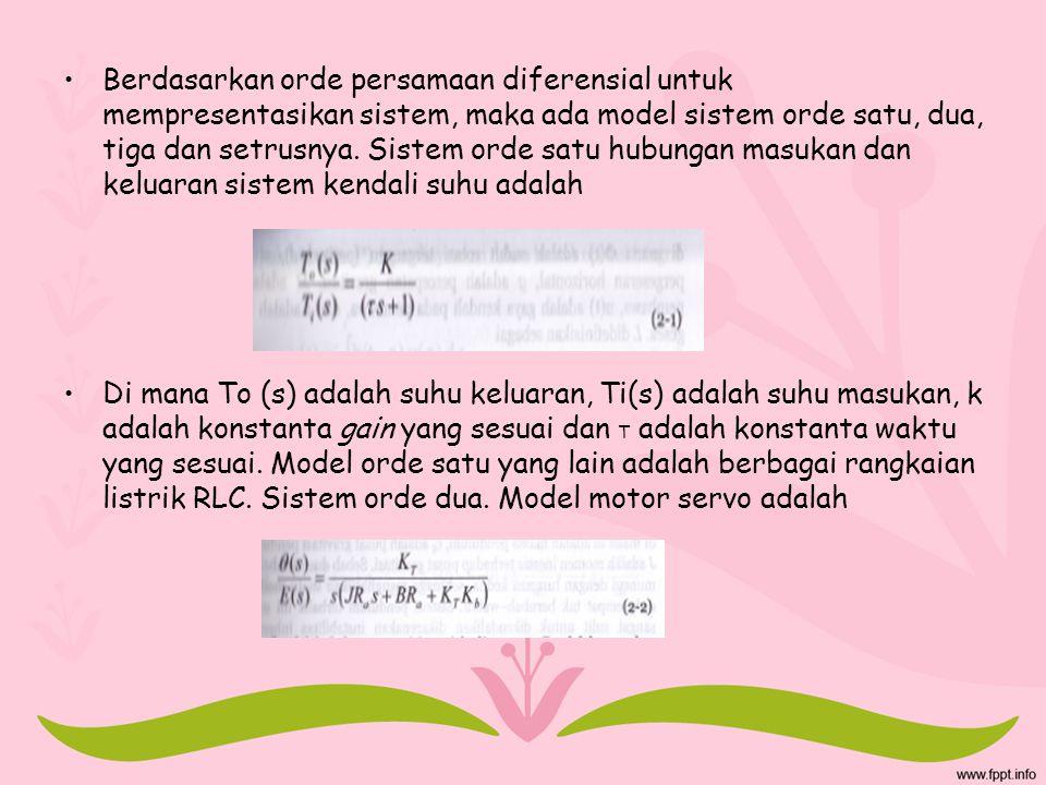 Berdasarkan orde persamaan diferensial untuk mempresentasikan sistem, maka ada model sistem orde satu, dua, tiga dan setrusnya. Sistem orde satu hubungan masukan dan keluaran sistem kendali suhu adalah