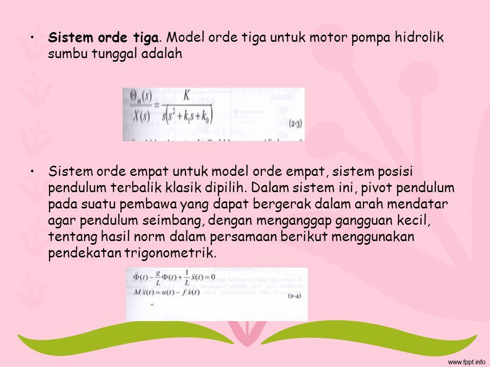 Sistem orde tiga. Model orde tiga untuk motor pompa hidrolik sumbu tunggal adalah