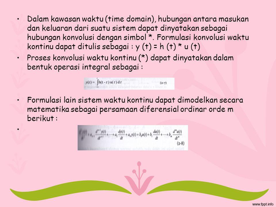 Dalam kawasan waktu (time domain), hubungan antara masukan dan keluaran dari suatu sistem dapat dinyatakan sebagai hubungan konvolusi dengan simbol *. Formulasi konvolusi waktu kontinu dapat ditulis sebagai : y (t) = h (t) * u (t)