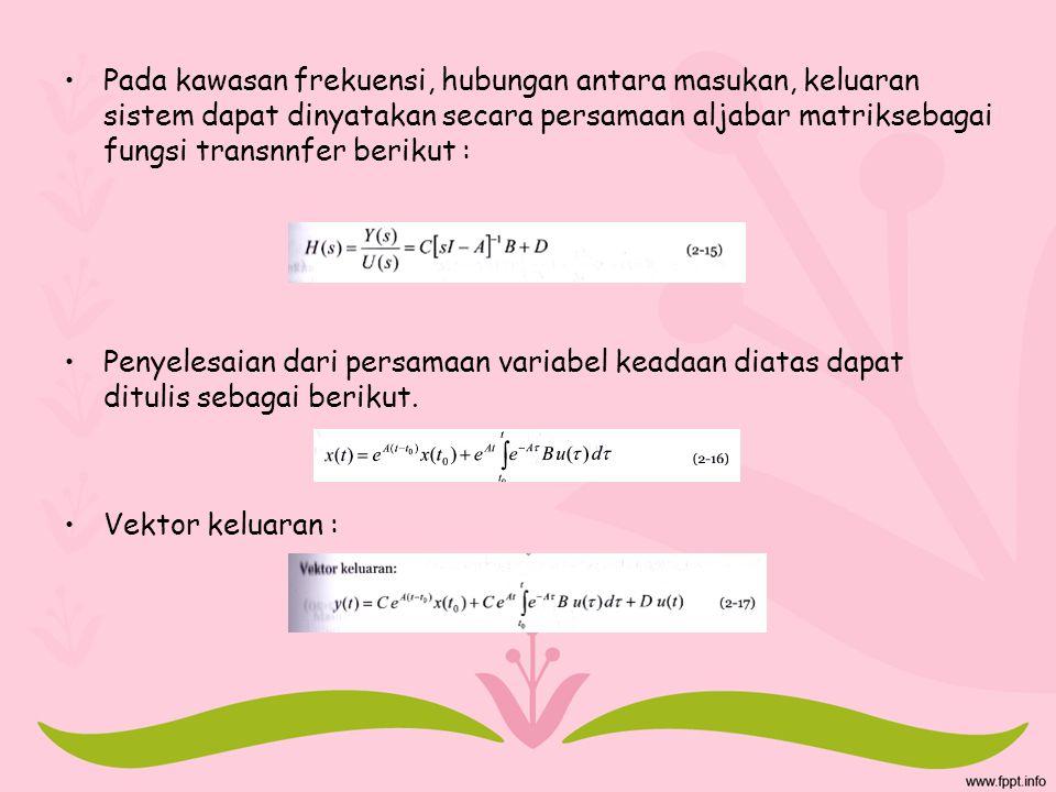 Pada kawasan frekuensi, hubungan antara masukan, keluaran sistem dapat dinyatakan secara persamaan aljabar matriksebagai fungsi transnnfer berikut :