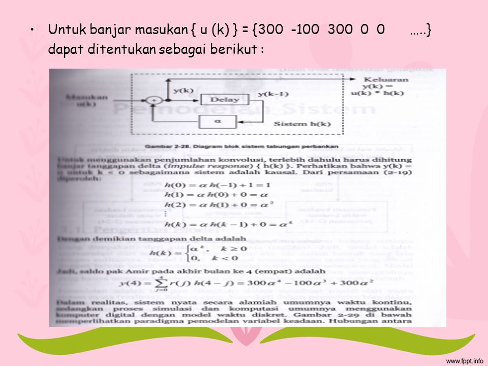 Untuk banjar masukan { u (k) } = {300 -100 300 0 0 …..}