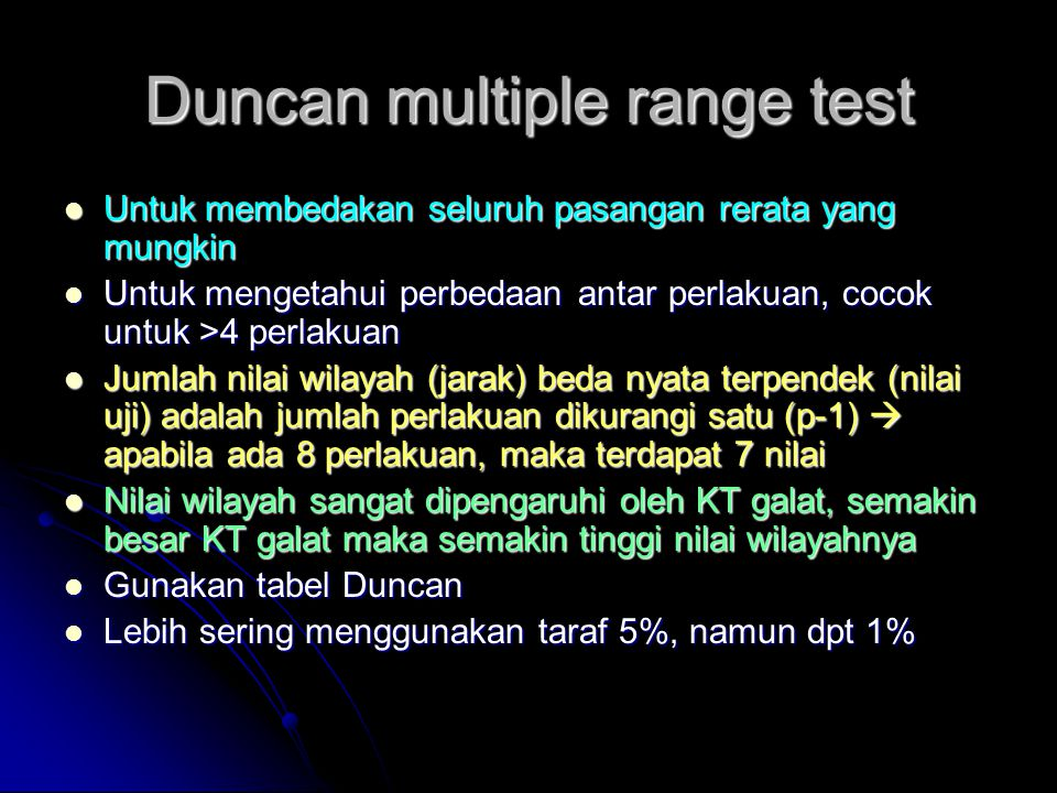 Duncan multiple range test