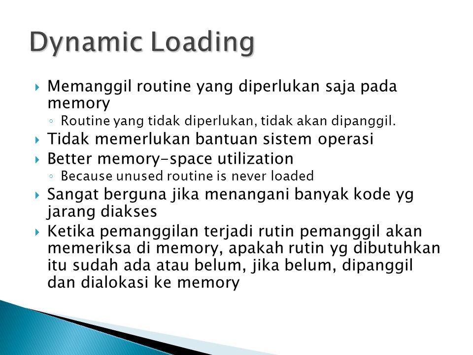 Dynamic Loading Memanggil routine yang diperlukan saja pada memory
