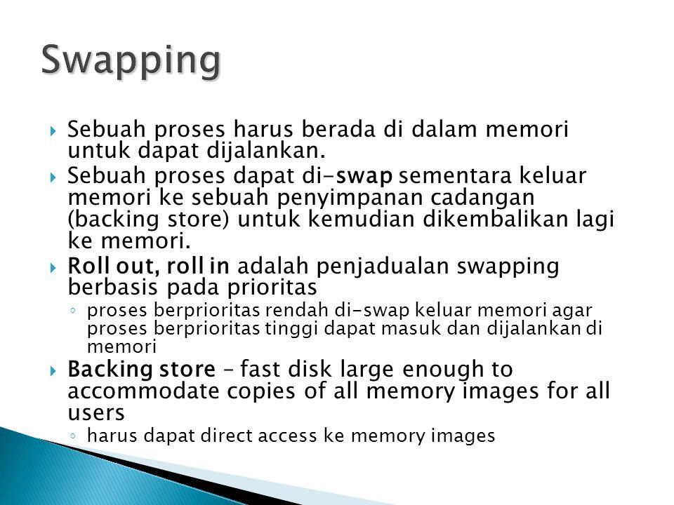 Swapping Sebuah proses harus berada di dalam memori untuk dapat dijalankan.