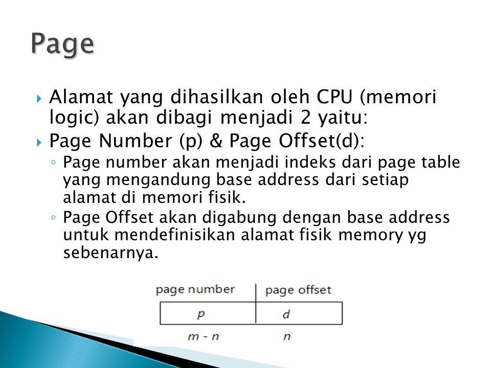 Page Alamat yang dihasilkan oleh CPU (memori logic) akan dibagi menjadi 2 yaitu: Page Number (p) & Page Offset(d):