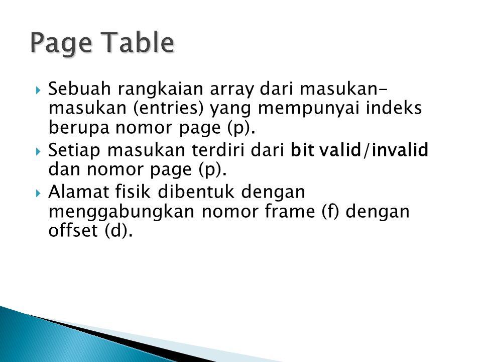 Page Table Sebuah rangkaian array dari masukan- masukan (entries) yang mempunyai indeks berupa nomor page (p).