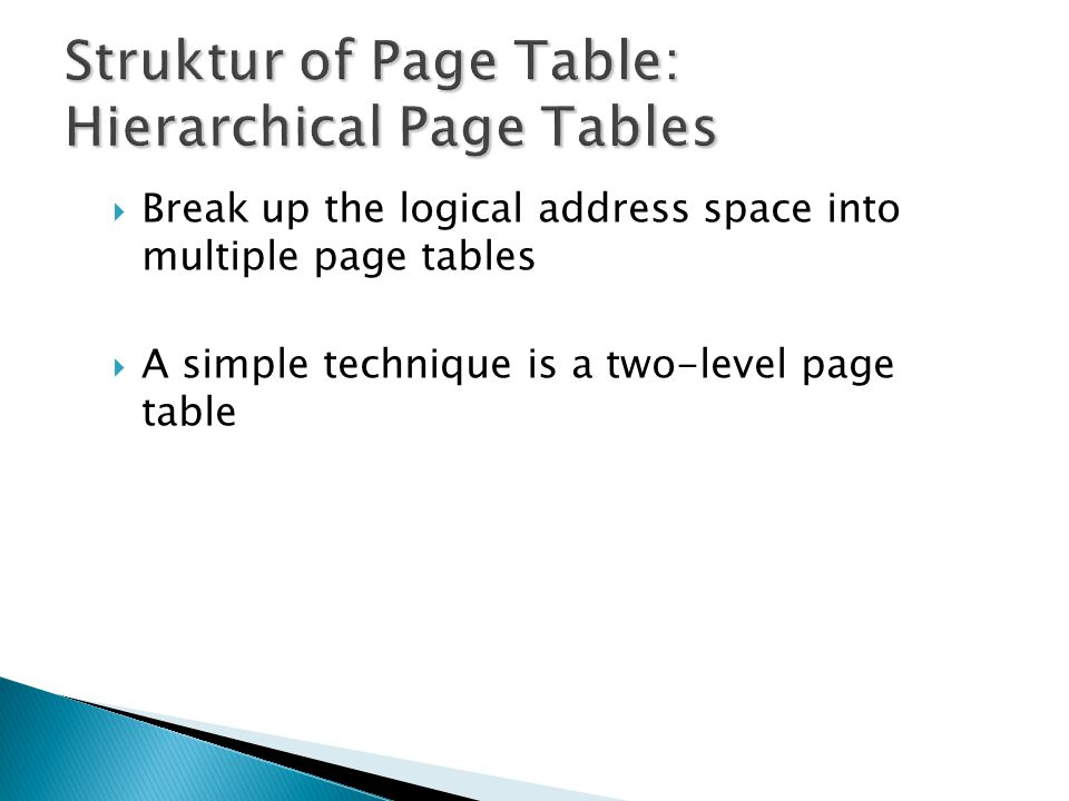 Struktur of Page Table: Hierarchical Page Tables