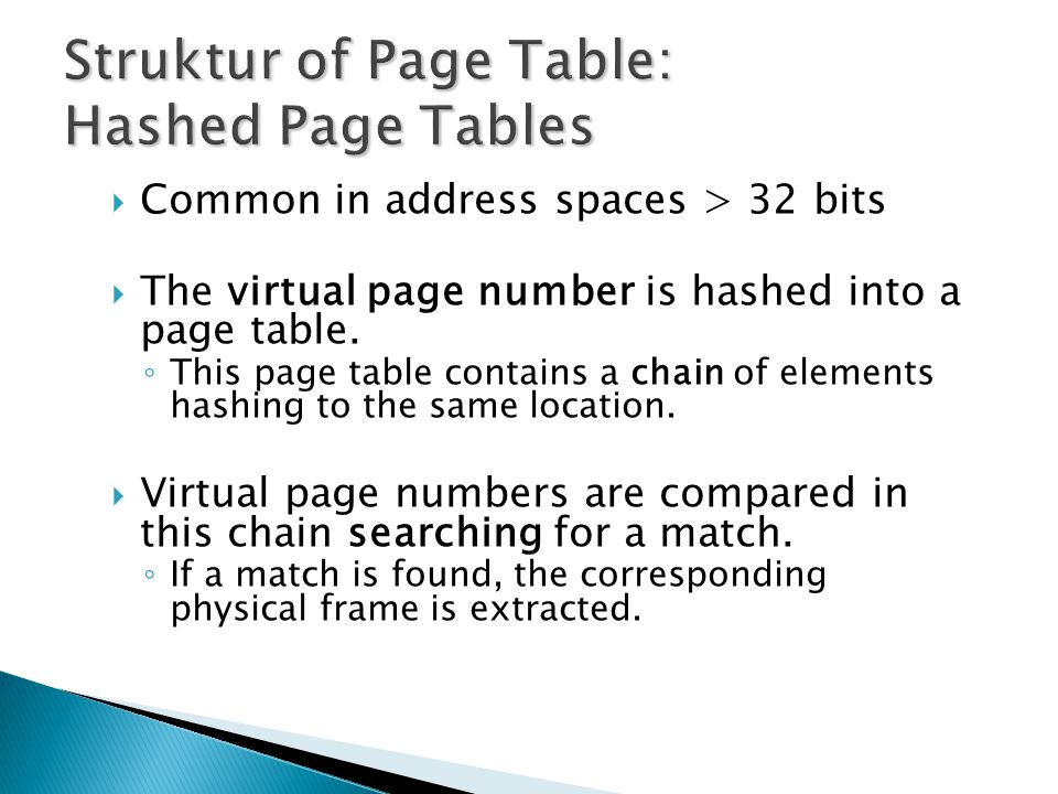Struktur of Page Table: Hashed Page Tables