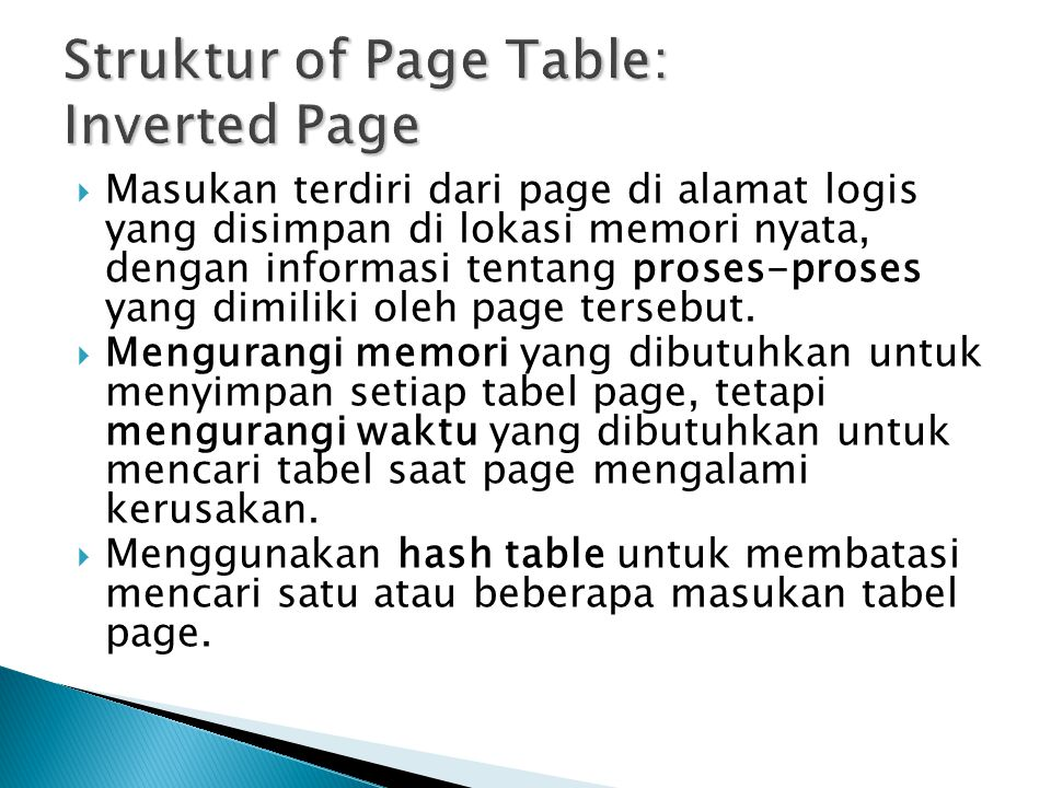 Struktur of Page Table: Inverted Page
