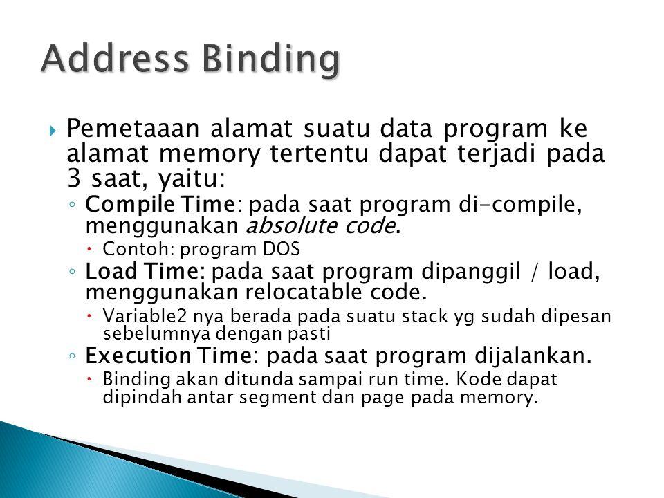 Address Binding Pemetaaan alamat suatu data program ke alamat memory tertentu dapat terjadi pada 3 saat, yaitu: