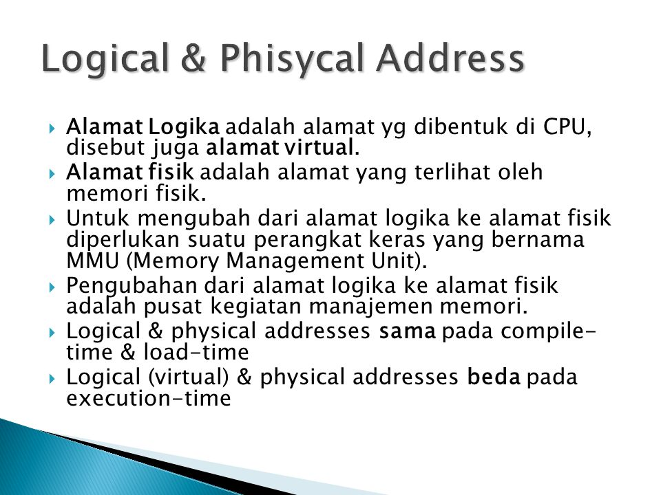 Logical & Phisycal Address