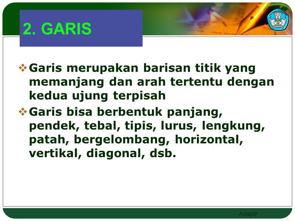 2. GARIS Garis merupakan barisan titik yang memanjang dan arah tertentu dengan kedua ujung terpisah.