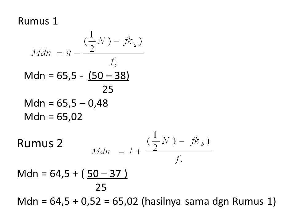 Rumus 2 Rumus 1 Mdn = 65,5 - (50 – 38) 25 Mdn = 65,5 – 0,48