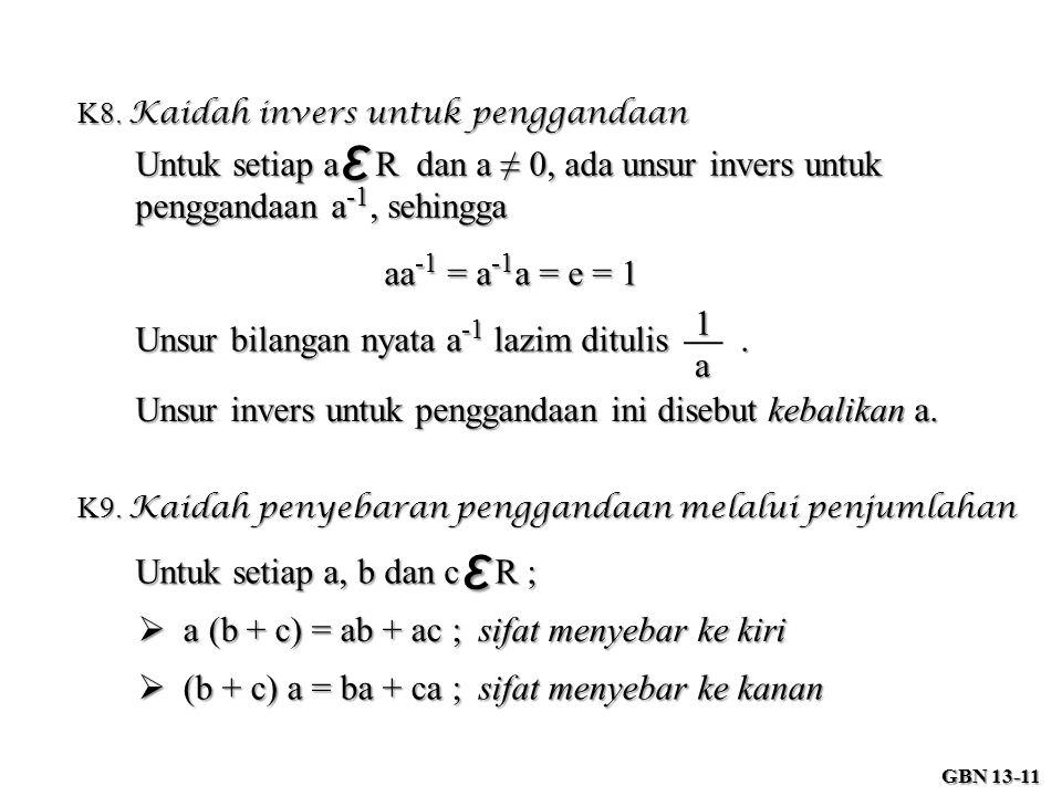 K8. Kaidah invers untuk penggandaan
