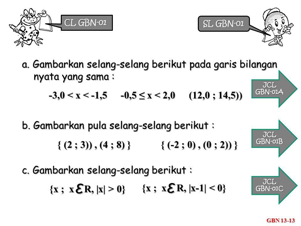 CL GBN-01 SL GBN-01. a. Gambarkan selang-selang berikut pada garis bilangan nyata yang sama : JCL.